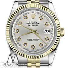 Men's Rolex 36mm Datejust 2 Tone Silver Color String Diamond Accent Dial