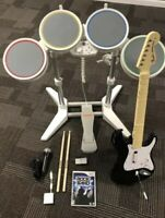 Wii Rock Band Bundle Wireless Guitar Wired Drums + Mic & Dongle, Game TESTED