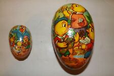 Set of 2 Antique German Paper Mache Easter Egg Containers Chick Musician Rooster