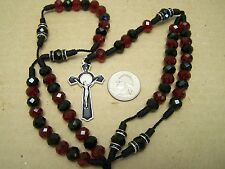 Rosary with Black and Burgundy-Colored Plastic Beads - Mexico