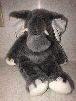 "Build A Bear 17"" Gray White Tusk Elephant Fluffy Plush Stuffed Animal EUC"