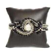 Silver Statement Bracelet Cuff Bangle Czech Glass Crystal Knot Black, Grey,