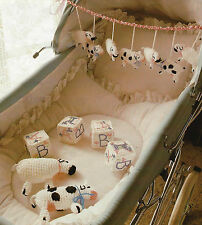 Baby Pram Toy mobile & Building Blocks with sheep, cows Crochet Pattern 4ply 659
