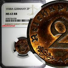 Germany-Third Reich Bronze 1938 A 2 Reichspfennig NGC MS63 RB NICE TONED KM# 90