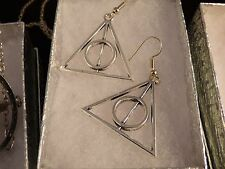 Usa- Harry Potter Silver Deathly Hallow earrings,