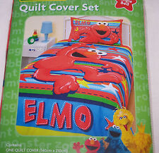 Sesame Street Elmo Stars & Stripes Kids Printed Single Bed Quilt Cover Set New
