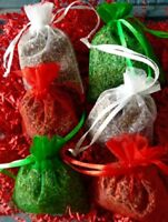 6 Fragrant Christmas Dried French Lavender Buds Sachets Red White Green FREE SH