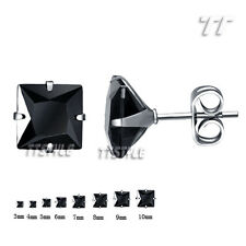 Cool TT Stainless Steel Black Square CZ Stud Earrings A Pair 3mm-10mm (ES04D)NEW