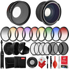 Opteka 0.35X HD Fisheye Lens & 58mm 0.43X HD Wide Angle Lens & Filters - Canon
