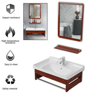 """24"""" Bathroom Vanity Cabinet & Sink W/ Mirror Ceramic Faucet Combo Wall-Mounted"""