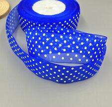 100 Yards 25mm dot Satin Edge Sheer Organza Ribbon Bow Craft Wedding DIY