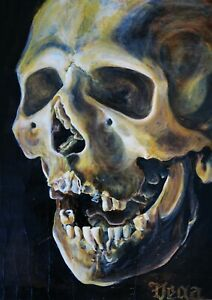 Skull Acrylic Still Life Painting Dark Gothic Skeleton - ACEO Print 4 of 10