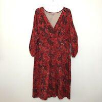J. Jill Women's Red Wrap Dress Plus size 3XL Paisley 3/4 Sleeve Stretch CB