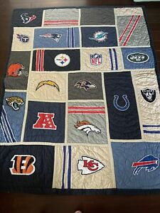 POTTERY BARN Teen NFL AFC Logo Football QUILT, Size Full Queen, Ravens Colts EUC