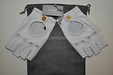 AUTHENTIC NEW TOM FORD WHITE LEATHER DRIVING GLOVES,size7.5