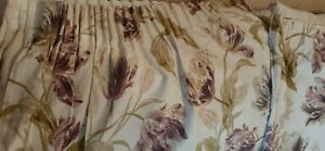 Pair of Laura Ashley Gosford floral PLUM curtains. Fully Lined. Pencil pleat