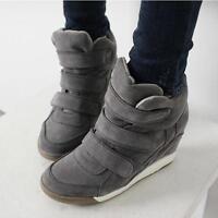 New Womens High-top Shoes Wedge Hidden Heel Platform Fashion Sneakers US 6 7 8