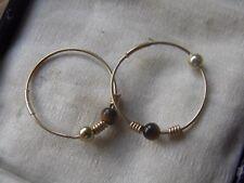 9ct Gold Hoop Earrings,with Tigers Eye Bead