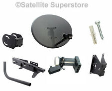 80cm Zone 2 Sky Satellite Dish With Wall Mount & Quad LNB Freesat PVR HD Plus