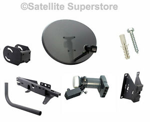 80cm Zone 2 Satellite Dish With Wall Mount & Quad LNB For Sky + HD Freesat PVR