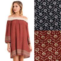 UMGEE Womens Boho Retro Off Shoulder Bohemian Crochet Long Sleeve Dress S M L