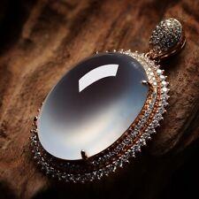 Myanmar Grade A Natural Untreated Ice Jadeite Jade 18K Gold Diamond Pendant#1150