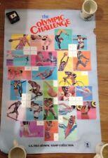 1984 US Summer Olympics The Challenge USPS Stamps Poster Gymnastics Track Swim