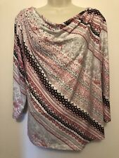 Hearts Of Palm Ladies Size Large L 3/4 Sleeve White Sequins Draped Neckline