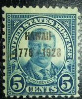 Travelstamps: US Stamps Scott #648, 5¢ Hawaii, Theodore Roosevelt, mint, lh, og