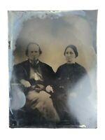 Large Tintype 1860s 1870s Man Woman Couple Writing On Back