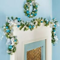 6 Ft Lighted Silver Blue Ornament & Bows Glittered Snow Branch Christmas Garland