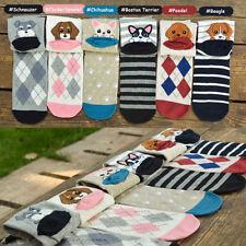 Womens Girls Cartoon Style Cute Puppy Print Cotton Winter Warm Ankle Socks Newly