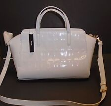 DKNY WHITE PATENT EMBOSSED 'D K N Y' LOGO,GOLD TONE TOTE,SHOULDER+HAND BAG,PURSE