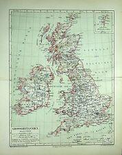 GROSSBRITANNIEN, Landkarte, gedruckt 1876