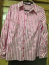 Marks & Spencer White Pink Shining Striped Shirt Blouse - Size XL 44 UK 16