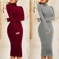 Turtleneck Jumper Slim Winter Fitness Dress Women Long Party Sweater