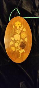 Italian attardi Sorrento oval Inlaid Wood floral Plaque