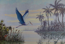 LARGE Vintage GREAT BLUE HERON Art Print FLORIDA SCENE Everglades HAROLD HANCOCK