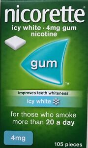 Nicorette Icy White 4mg Nicotine Gum 105 pieces (Stop Smoking Aid)  (Genuine)