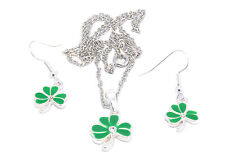 "Pendant Earrings Shamrock Set silver plated 18"" chain Necklace Irish AMSPS100SET"