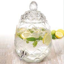 6L Pineapple Beverage Dispenser Glass Jar Juice Drinks Cocktails Outdoor Tap