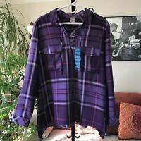 COMO VINTAGE sz XL Purple Plaid Lace Up Popover Tunic Top NWT $44