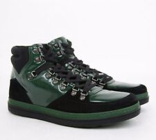 $750 GUCCI Softy Tek High Top Sneakers green/black  368496 size US 9
