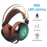 USB Wired Gaming Headset Deep Bass Game Earphone RGB Lighting Computer ONY