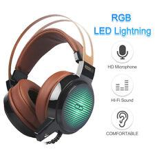USB Wired Gaming Headset Deep Bass Game Earphone RGB Lighting Computer PE