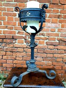 Follower of Pugin, Large Mid 19thC Gothic Antique Iron Pricket Candlestick