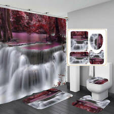 Purple Forest Waterfall Shower Curtain Bath Mat Toilet Cover Rug Bathroom Decor