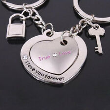 1Pair Love Heart Couple Key Chain Ring Keyring Keyfob Lover Gift Couples Partner
