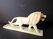 VTG Carved Heavy Marble Onyx alabaster Stone Lion Tiger 15''Statue Figure w/Base