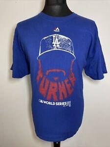 Majestic LA Dodgers Justin Turner MLB World Series 2017 Blue T Shirt Men's XL